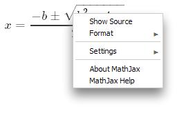 MathJax menu