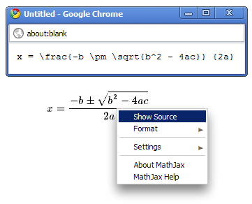 Showing the source in MathJax