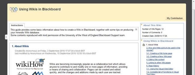 Creating a wiki in Blackboard for student assessment