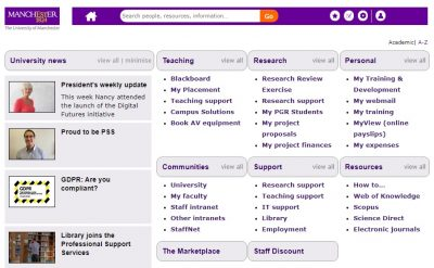 screengrab of the MyManchester page for teaching staff