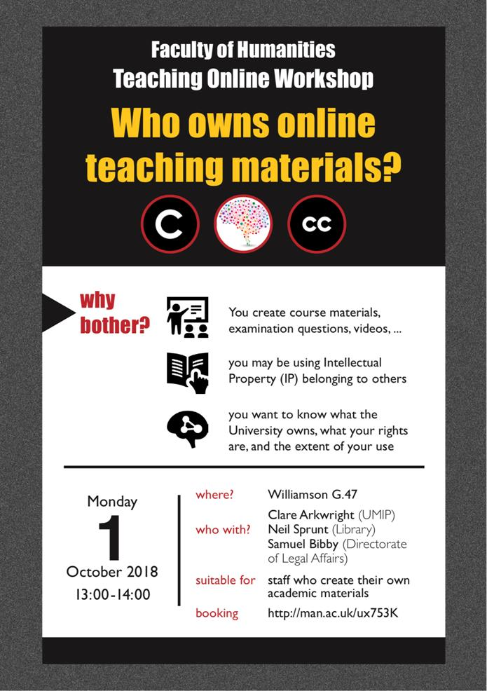 information on the Faculty of Humanities workshop Who Owns online teaching materials, Monday 1 October 2018 at 1pm