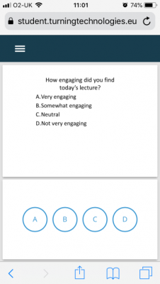 An example of how questions are displayed to students in TurningPoint mobile