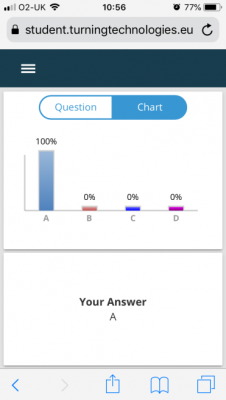 An example of how answers are displayed to students in TurningPoint mobile